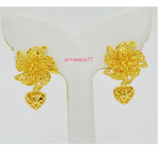 Flower THAI EARRINGS DROP DANGLE 22K 23K 24K THAI BAHT YELLOW GOLD GP