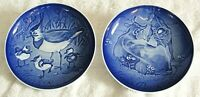 Vintage B&G Mors Dag (Mother's Day) 1988 & 1989 Plates Crested Plover - Cow