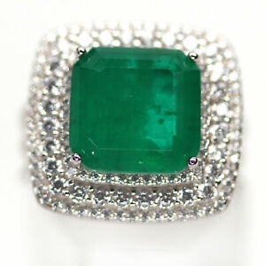 FOREST GREEN DOUBLET EMERALD & WHITE CZ 925 STERLING SILVER RING SZ 6