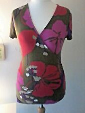Boden top size UK12 Floral jersey feel faux wrap