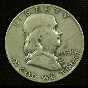 Franklin Silver Half Dollar. 1950 D. Circulated. Lot # 9038-107-0150
