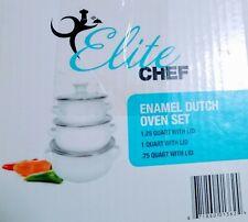 Elite Chef Enamel Dutch Oven Set of 3 with lids New