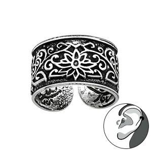 925 Sterling Silver Lotus Flower Swirl Ear Cuff Non Piercing 10mm Unisex Earring