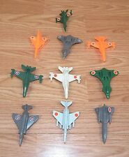 LOT OF 10: Unbranded/Generic Small Multi-Colored Plastic Jet Plane Toys **READ**