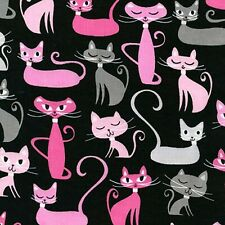 Fabric Cats Paris Pink and Grey on Black KAUFMAN  Cotton 1/4 yard 3752