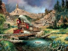 Jigsaw Puzzle Train Nuggettville Blue Sky Locomotive 750 pieces NEW Made in USA