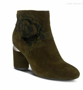 New Womens Azura Spring Step MAGNIF-OLS Olive Green Microsuede Booties Boots