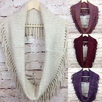 Women's Infinity Scarf  Fringe Knit Winter Warm Thick 2 Loop 2 Tone Cowl Shawl