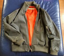 Mens Punk Royal Leather Jacket Size Large/XL Army Military