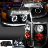 04-08 Ford F150 R8 LED DRL Halo Projector Headlight Black+Clear Tail Lamps