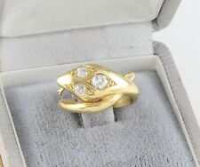 Vintage 18Ct 18K Gold And Diamond Snake / Serpent Ring