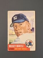 1953 Topps #82 Mickey Mantle SP GD/ Crease Well Centered New York Yankees HOF