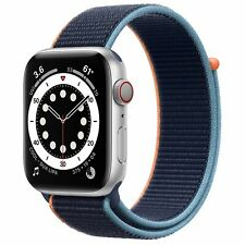 *SALE* Apple Watch Series 6 Cellular 44mm Silver Aluminium, Deep Navy Sport Loop