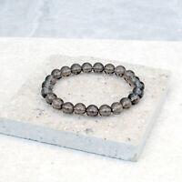 Smoky Quartz Bracelet 8mm Genuine Crystal Stone Beads Stretch Fit UK Made