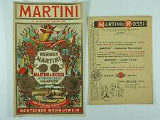 ORIGINAL REKLAME ETIKETTE MARTINI & ROSSI HAMBURG DEUTSCHES REICH 1937