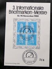 TIMBRES D'ALLEMAGNE : RFA BLOC FEUILLET SOUVENIR BRIEFMARKEN MESSE ESSEN 1980