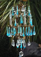 4lt Antique Tole hanging lamp chandelier Italy Vintage beaded blue opaline gold