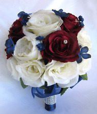 17 piece package Wedding Bouquet Bridal Bouquets Silk Flower CREAM BURGUNDY BLUE