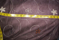 EMBROIDERED SUEDE Fabric BROWN CHOCOLATE 54 x 60 UPHOLST DRAPERY BEDDING FASHION