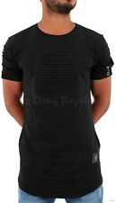 Time Is Money, Men's Designer Long T-Shirts, Pleated Zip, New Hip Hop Era, Blk