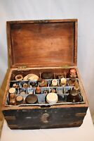 Antique Medicine Apothecary Box Medical Dispensary Travelling Set Collectibles ""