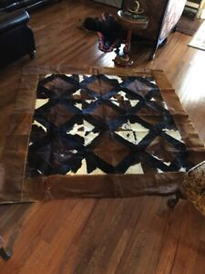 COWHIDE PATCHWORK THROW RUG APPROX 6 1/2' X 6 1/2'