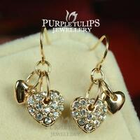 18CT Rose Gold Plated Dual Heart Dangle Earrings Made With Swarovski Crystal