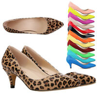 Hot Womens Low Mid Kitten Heel Office Shoes Slip On Pumps Court Work Shoes Size