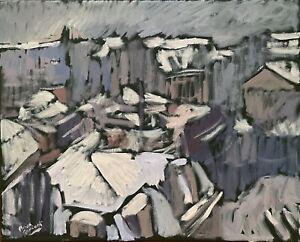 "Impressionism Snow City Landscape Oil Painting Original Signed 16""x20"" on Canvas"