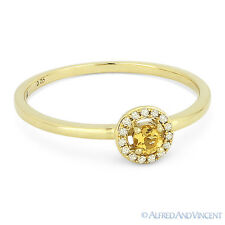 0.14ct Round Cut Citrine Gemstone & Diamond Halo Promise Ring in 14k Yellow Gold