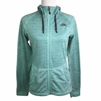 The North Face Green White Striped Front Pockets Zip Up Hooded Jacket Womens S