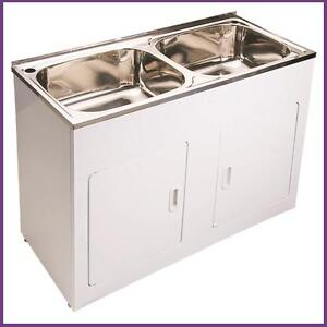 High Grade Stainless Steel Twin Laundry Tub - 90L