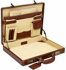 "Leather slimline briefcase attache case Black Or Cognac 16"" bonded"