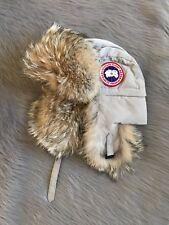 CANADA GOOSE Aviator Hat with Genuine Coyote Fur Trim  Limestone Size L-XL