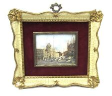 Miniature Oil Painting Venice Italy Antique Framed
