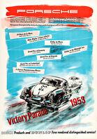 1954 Porsche Victory Poster By Erich Strenger A1 High Quality Canvas Art Print