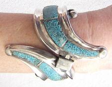 mosaic large bangle bracelet damage 99g Mexico Taxco art deco silver sterling w/