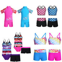 Girls Kids Tankini Swimsuit Swimwear Bikini Tops+Shorts Outfits Swimming Costume