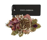NEW $1360 DOLCE & GABBANA Hair Clip Crystal Gold Brass Multicolor Floral Claw