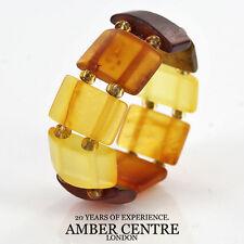 German Baltic Fiery Orange & Cognac Amber Handmade Elastic Ring RB004 RRP£35!!!