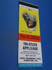 TRI-STATE APPLIANCE SEWING MACHINES CHESTER PA VINTAGE ADVERTISING MATCHBOOK