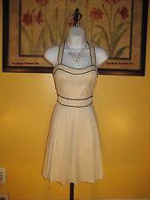 NWT bebe Kara Poplin Beige & Black Trim Dress Size 8