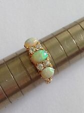 Fine Attractive Victorian 18ct Gold Natural Opal & Diamond Set Ring
