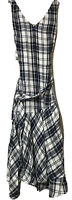 Nordstrom Signature Womens Blue White Plaid Linen Dress Size 6 New