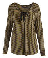 Striped Top Size 12 Ladies Long Sleeved Lace Up Womens T-Shirt