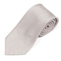 MOSCHINO Striking Ivory Black Dot Red Square Box Men's Silk Neck Tie