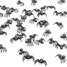50X plástico falsa araña juguetes Halloween broma travesura realista p Rf