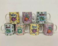 Set of 7 Fitz & Floyd SEED PACKAGE Coffee Mugs Cups Omnibus Americana 1995