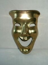 Vintage Brass Comedy Mask Wall Décor Drama Theater Hand Made India