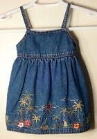 GYMBOREE Size 6-12 Months Blue Denim Embroidered Sleeveless Dress